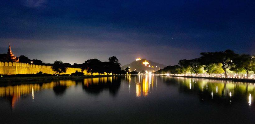 Myanmar-Mandalay-Hill-From-Mandalay-Palace-At-Night